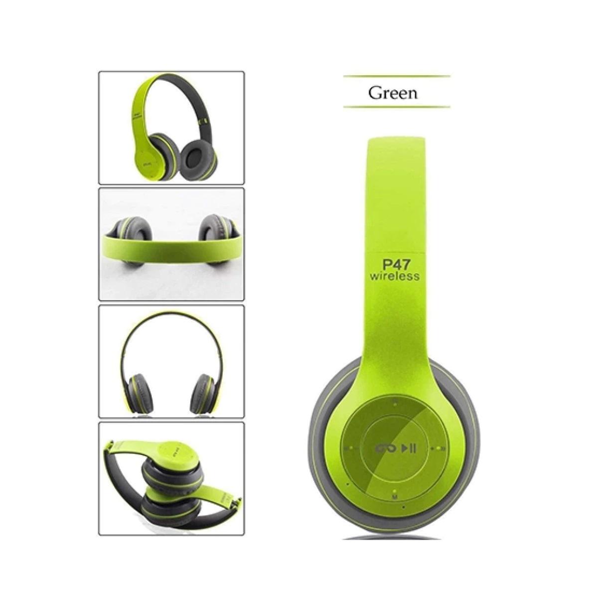 Casti wireless MRG P47 Verde cu bluetooth microfon