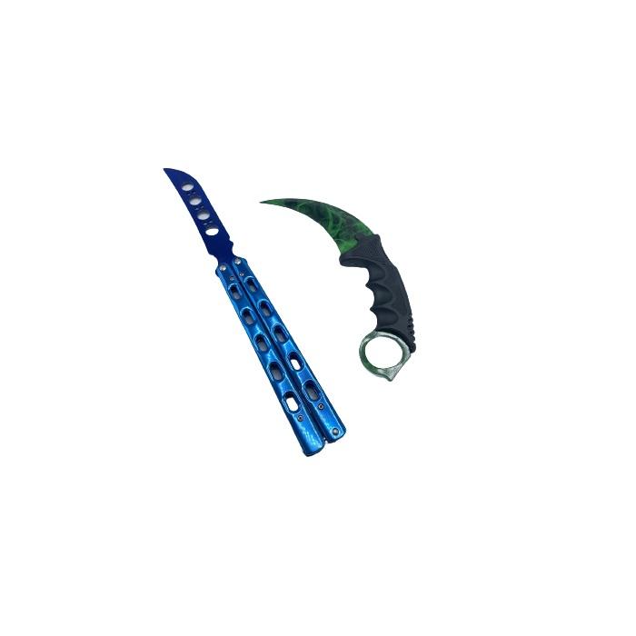 Set format din  Butterfly Albastru Metalic si Karambit Gamma Doppler, verde ,fara tais , de antrenament cu huse incluse
