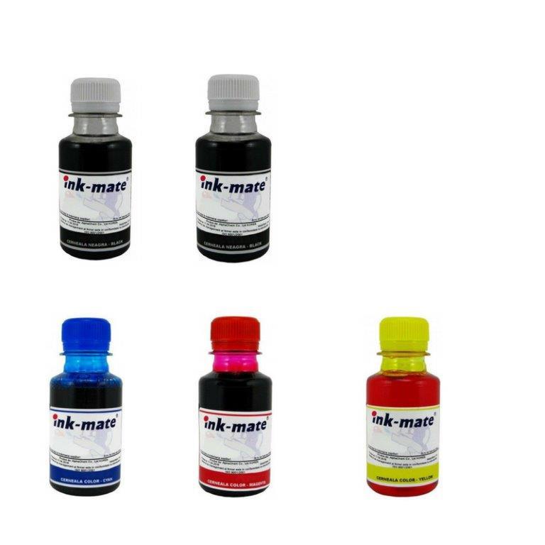 Pachet flacon cerneala ink-mate compatibil brother 2x lc127xlbk negru lc125xlc cyan lc125xlm magenta lc125xly galben 500 ml