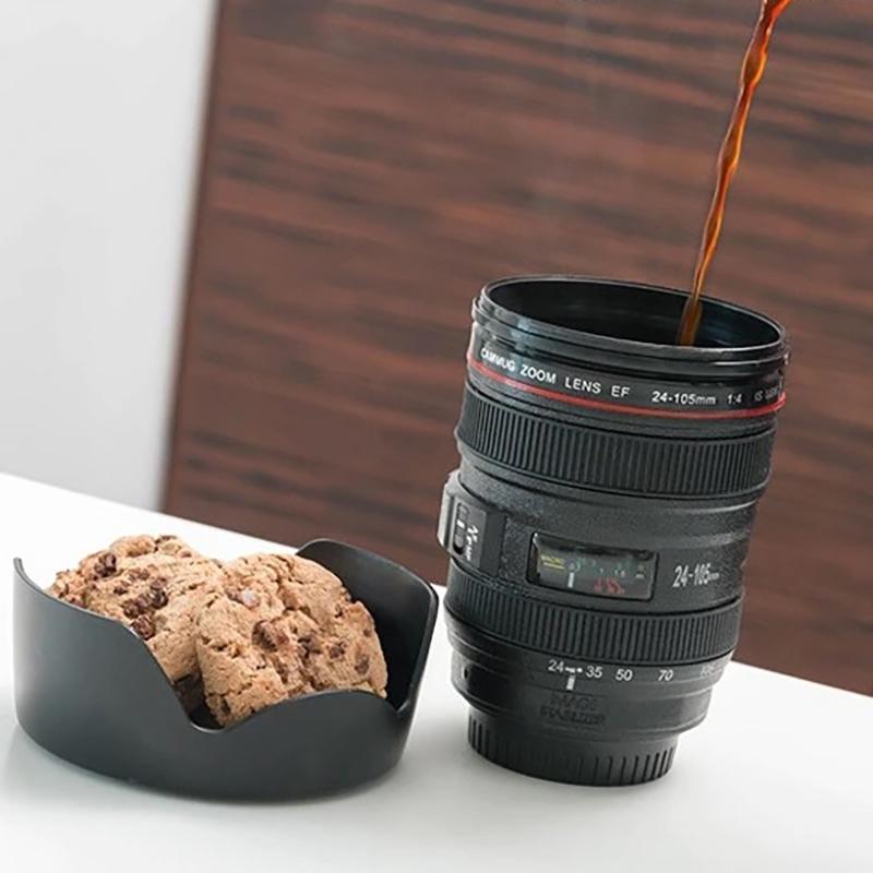 Cana termos tip obiectiv foto, negru, 330ml