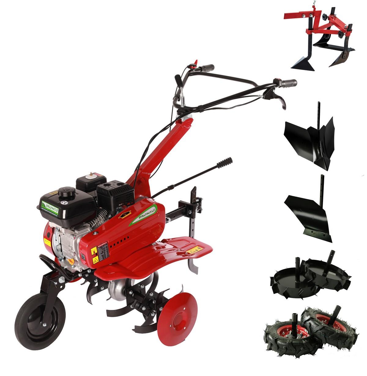 Motosapatoare Bronto WMA 500, 5 CP, 196 cc, 4T, latime lucru 50 - 80 cm, pachet P6 cu adaptor, roti cauciuc, plug pentru umplut, plug dreapta, roti ghieare fier si culivator