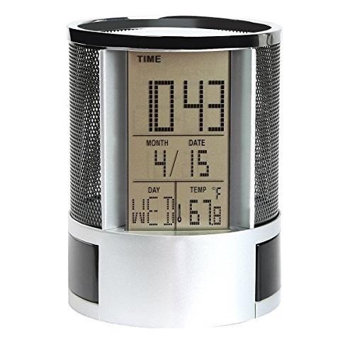 Organizator pentru stilouri cu ecran lcd mare, cu ceas, alarma, termometru  si calendar