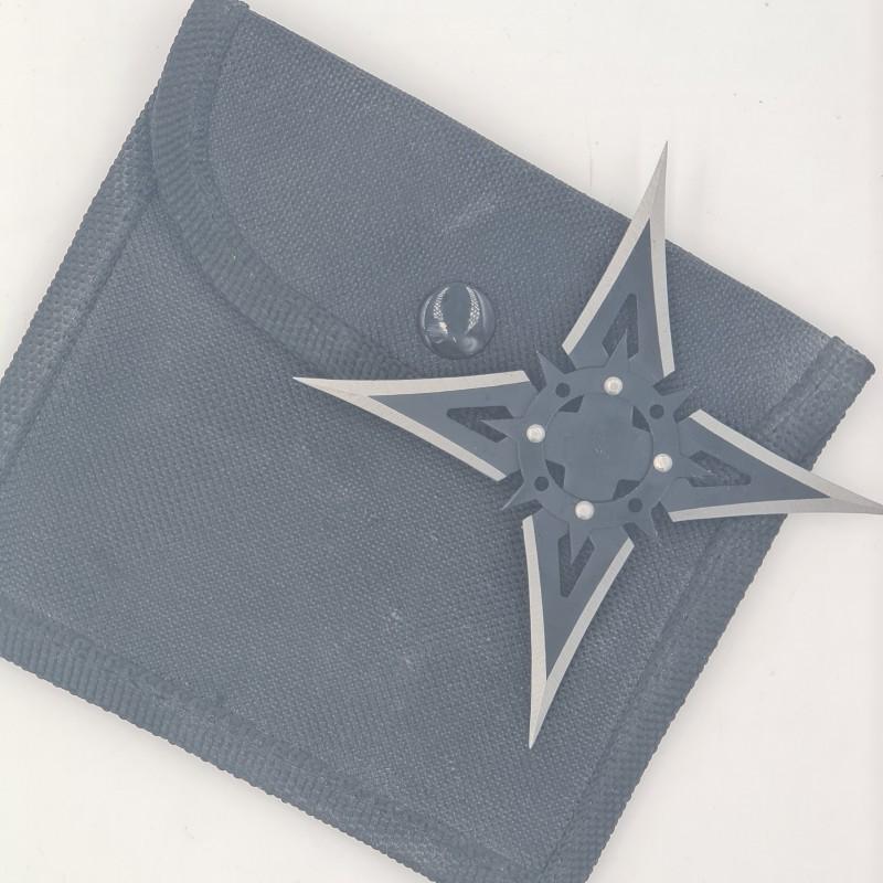 Steluta ninja pentru aruncat la tinta, neagra, 4 colturi, 10 cm