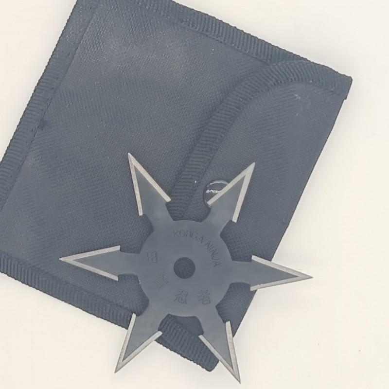 Steluta ninja pentru aruncat la tinta, neagra, 6 colturi, 10 cm