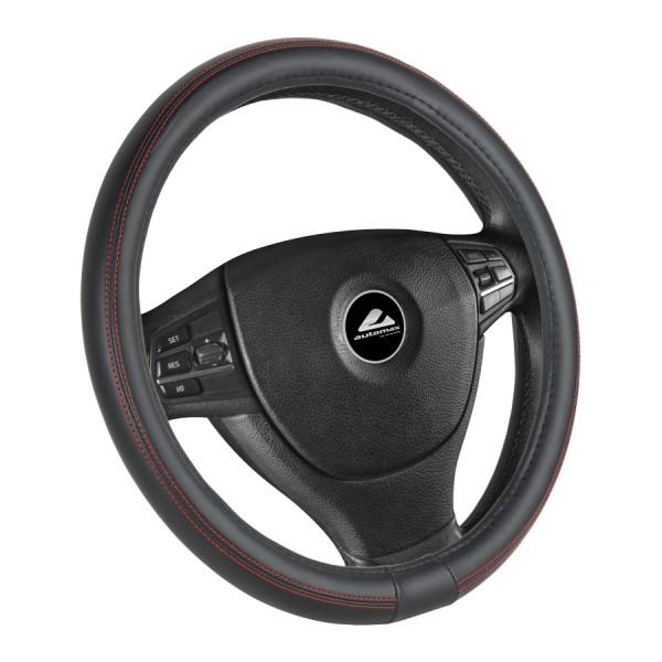 Husa volan de culoare neagra, cusatura rosie, diametru 37-39cm, material cauciucat kft auto