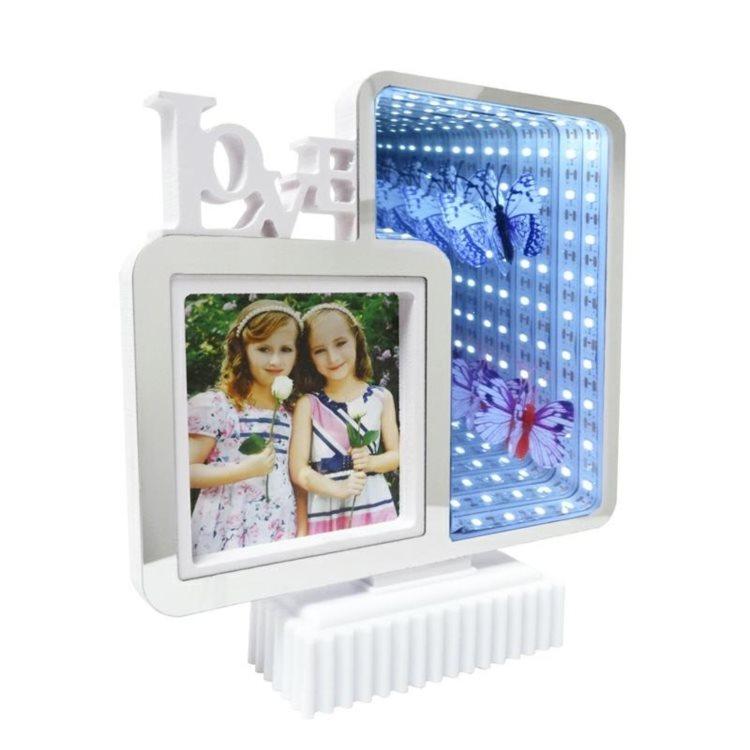 Rama foto cu oglinda iluminata led, efect 3d, 19.5x20x4.5cm, alb