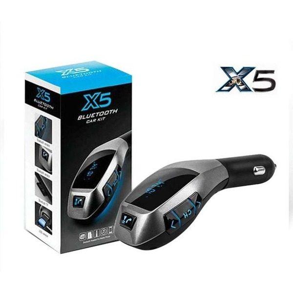 Modulator auto x5 cu bluetooth, handsfree, port usb si slot card extern tf