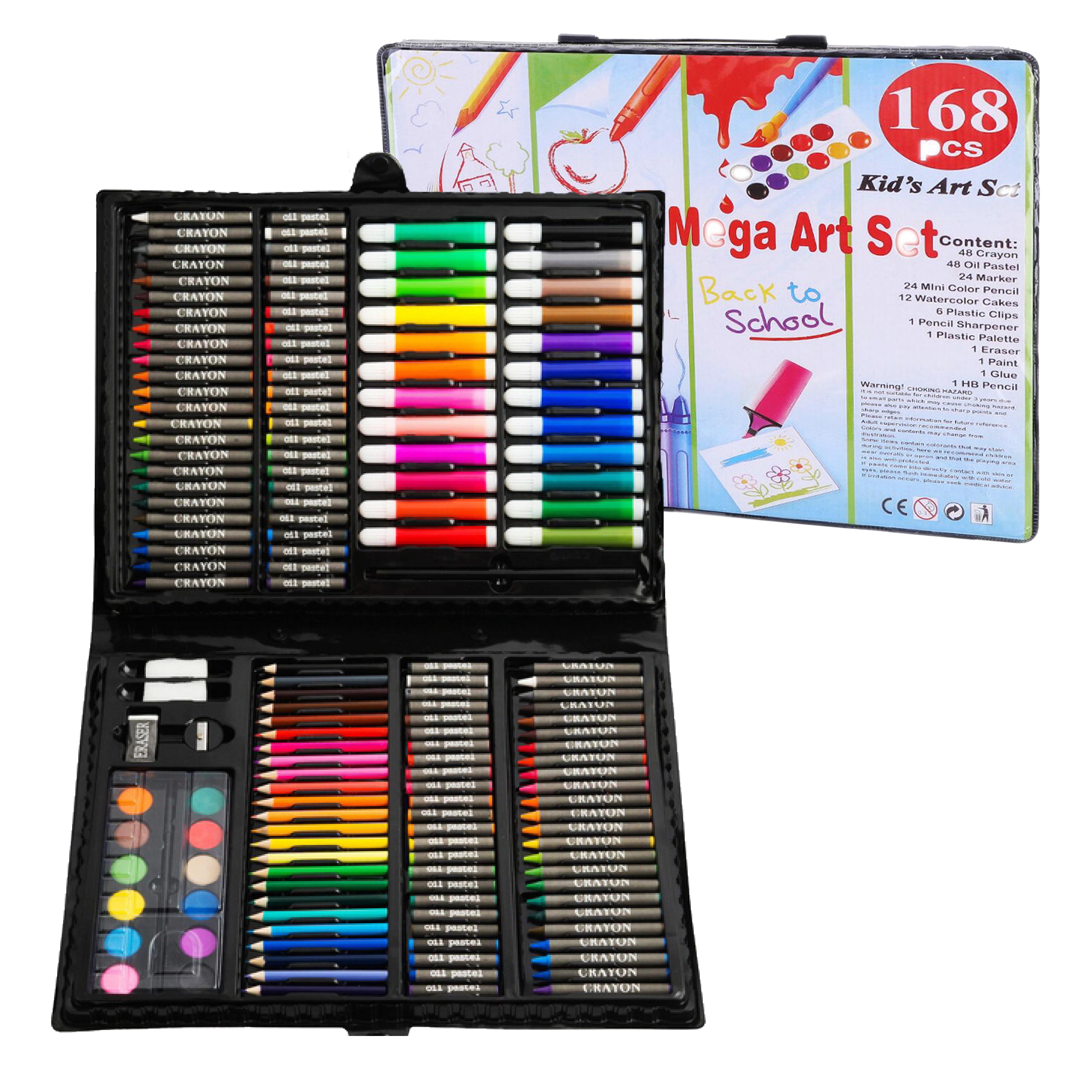 Set de 168 creioane colorate, carioci, creioane cerate si culori acuarela pentru desen