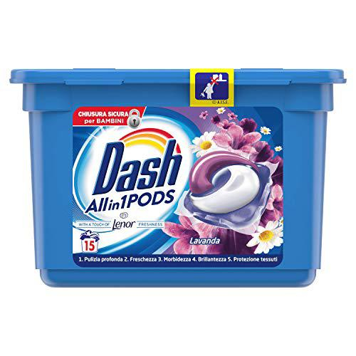 Detergent rufe capsule dash 5 in 1 cu balsam lenor lavanda 15 pods 396gr