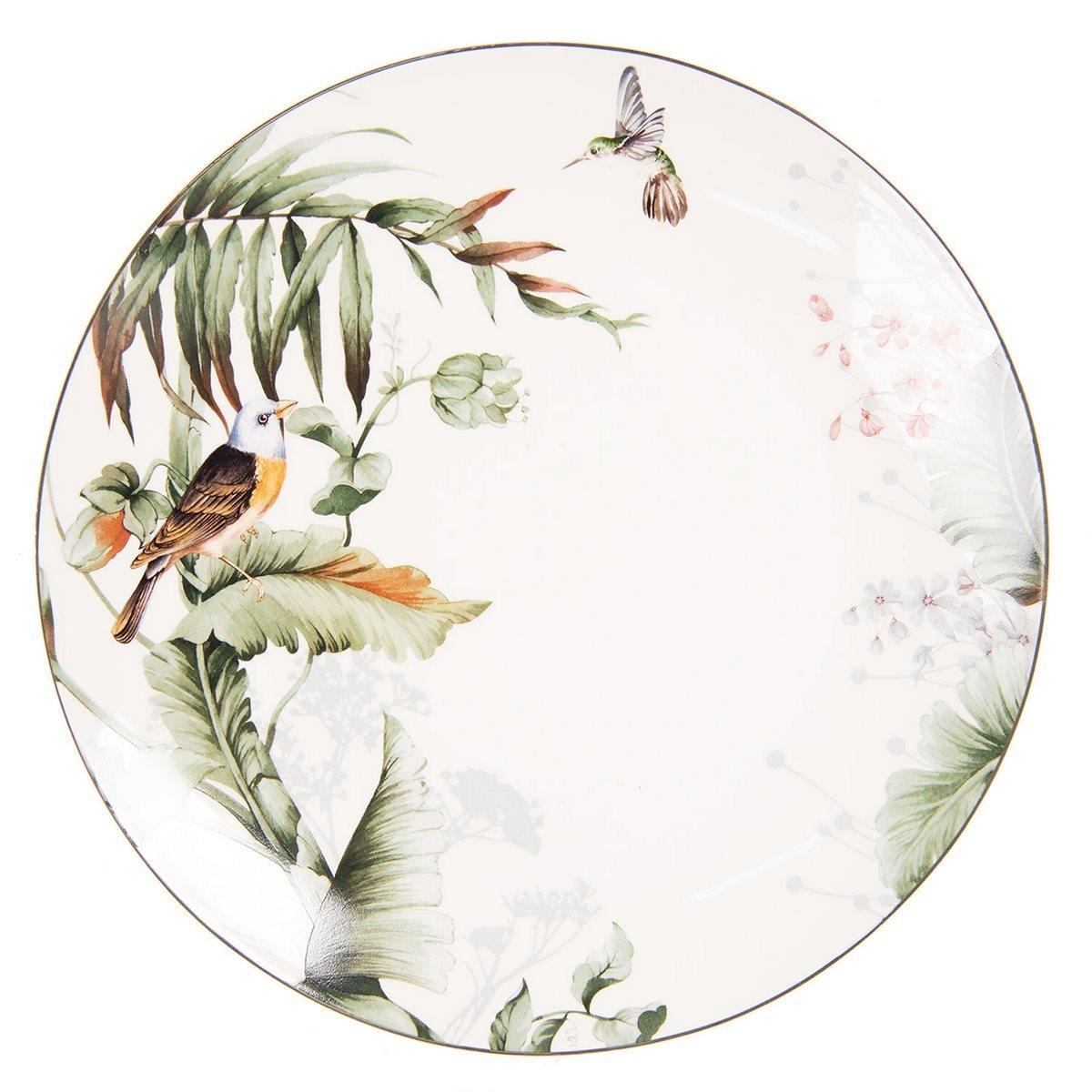 Farfurie din portelan alb cu decor pasari Ø 26 cm x 2 h