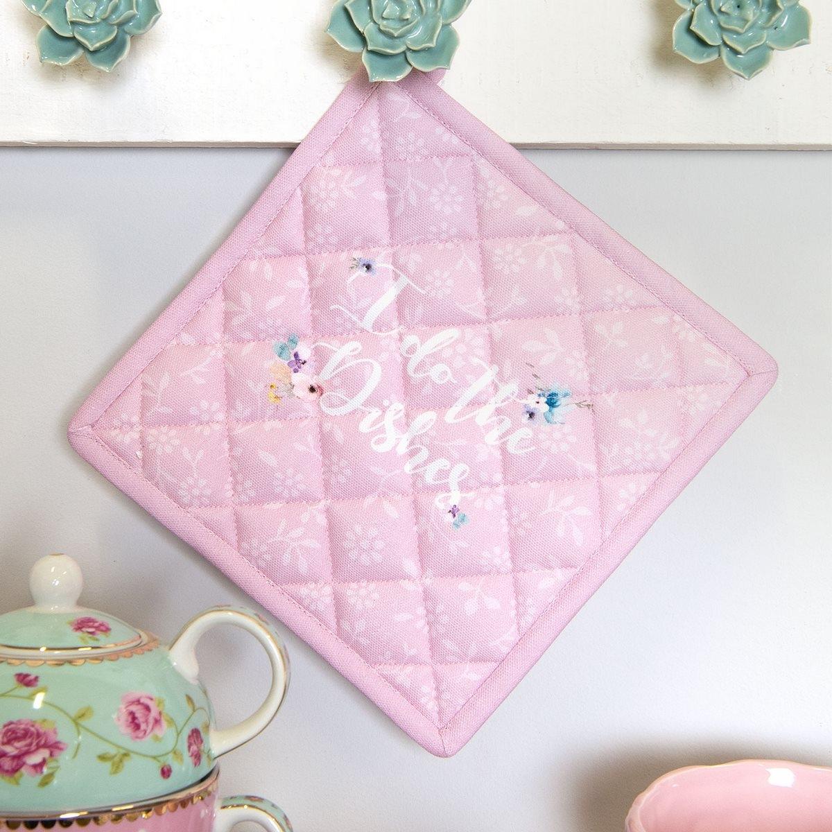 Suport pentru vase fierbinti din bumbac roz alb 20 cm x 20 cm