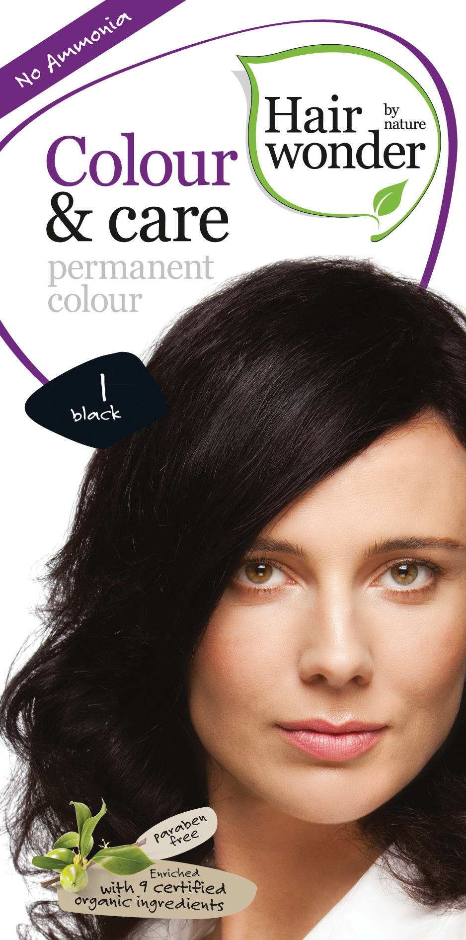 Vopsea par naturala, Colour & Care, 1 Black, Hairwonder