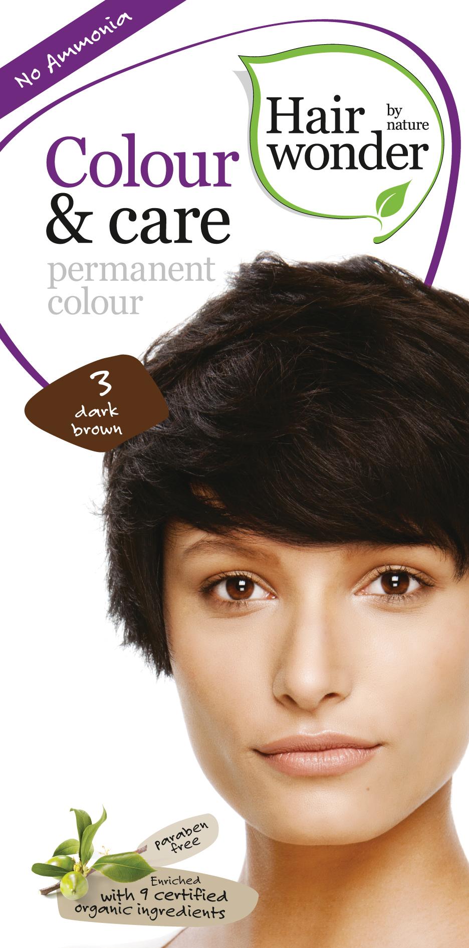Vopsea par naturala, Colour & Care, 3 Dark Brown, Hairwonder