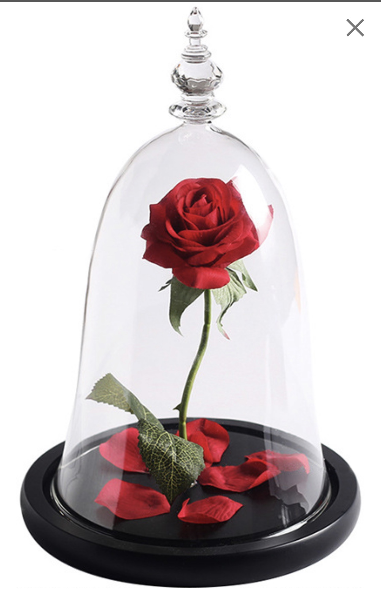 Trandafir Criogenat Rosu + LED + Cutie Cadou