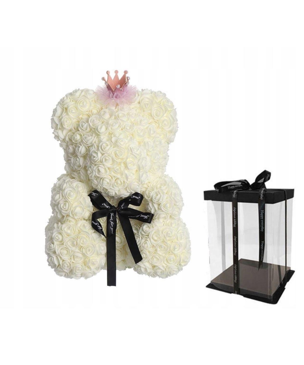 Ursulet floral Alb cu fundita + Cutie Cadou, 40 cm