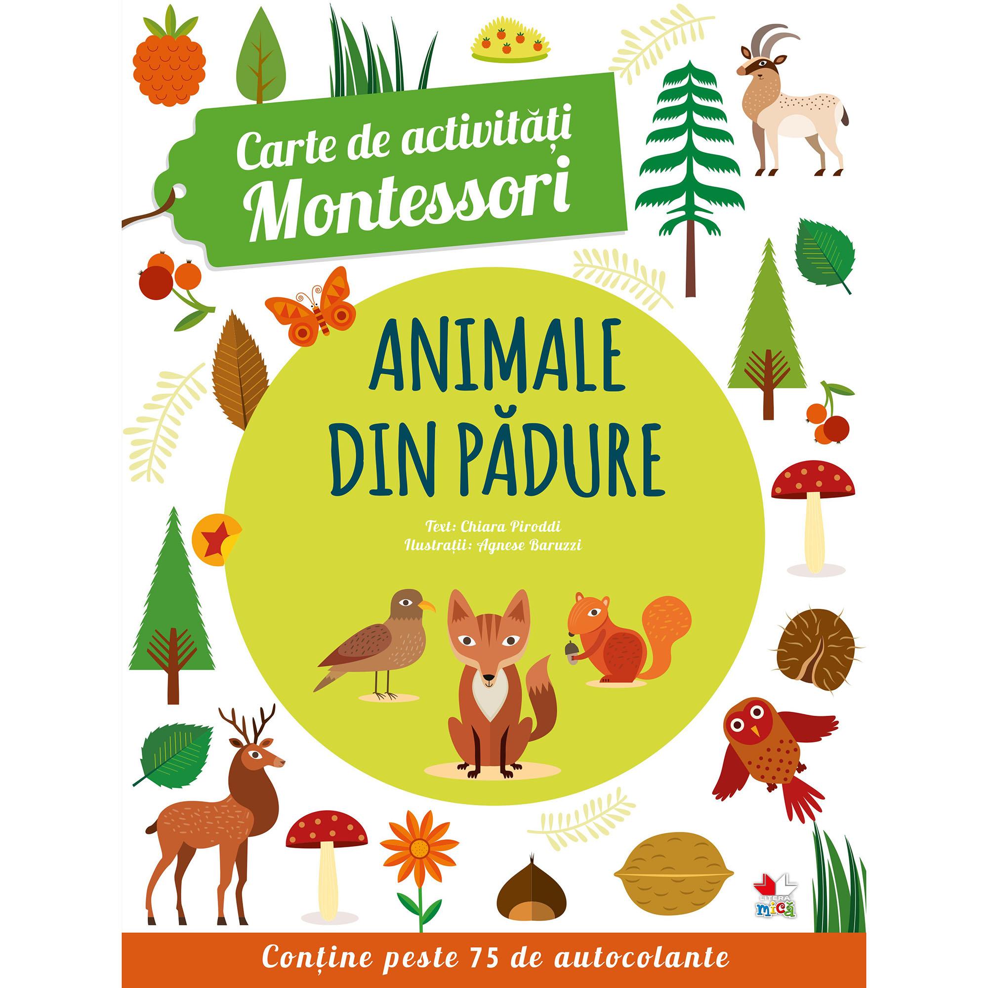 Carte de activitati Montessori. Animale din padure