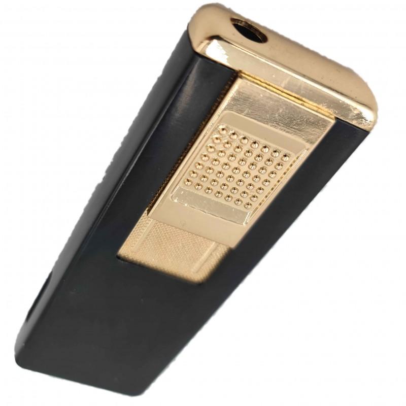 Bricheta metalica gravata personalizata cu textul tau, cu gaz, antivant, reincarcabila, neagra, cutie