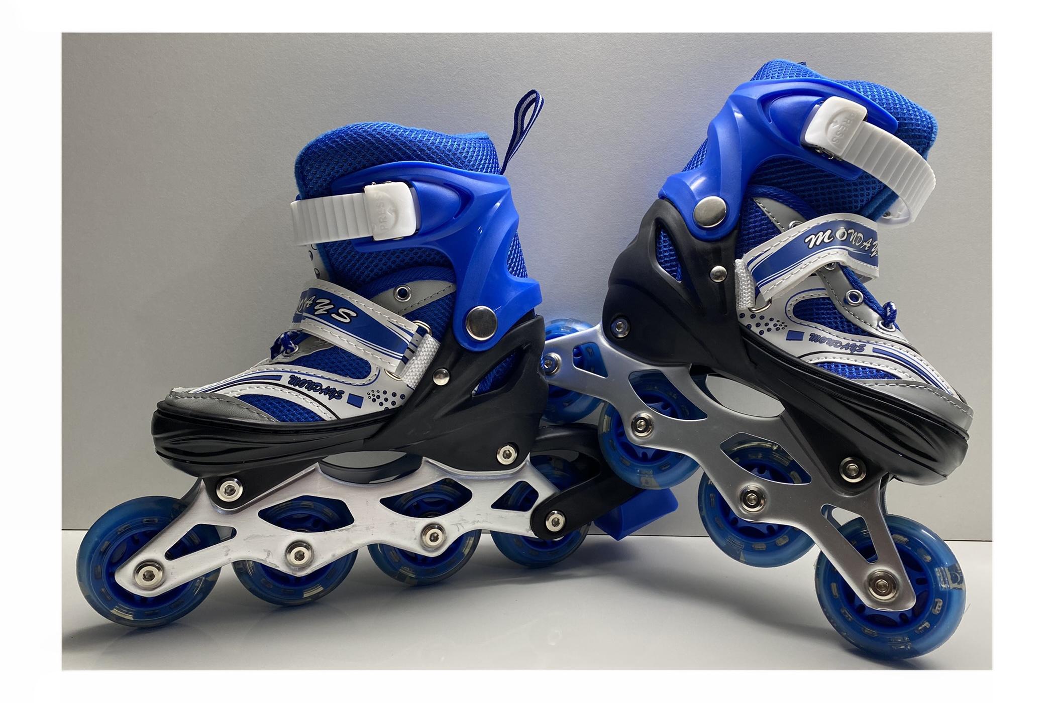 Role copii reglabile, Monday Skates cu lumini led, Sistem de fixare 3 in 1, M (Marimea 34-37), Albastru