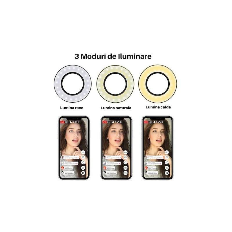 Ring light, pentru telefon cu 3 modurii de iluminare, suport flexibil