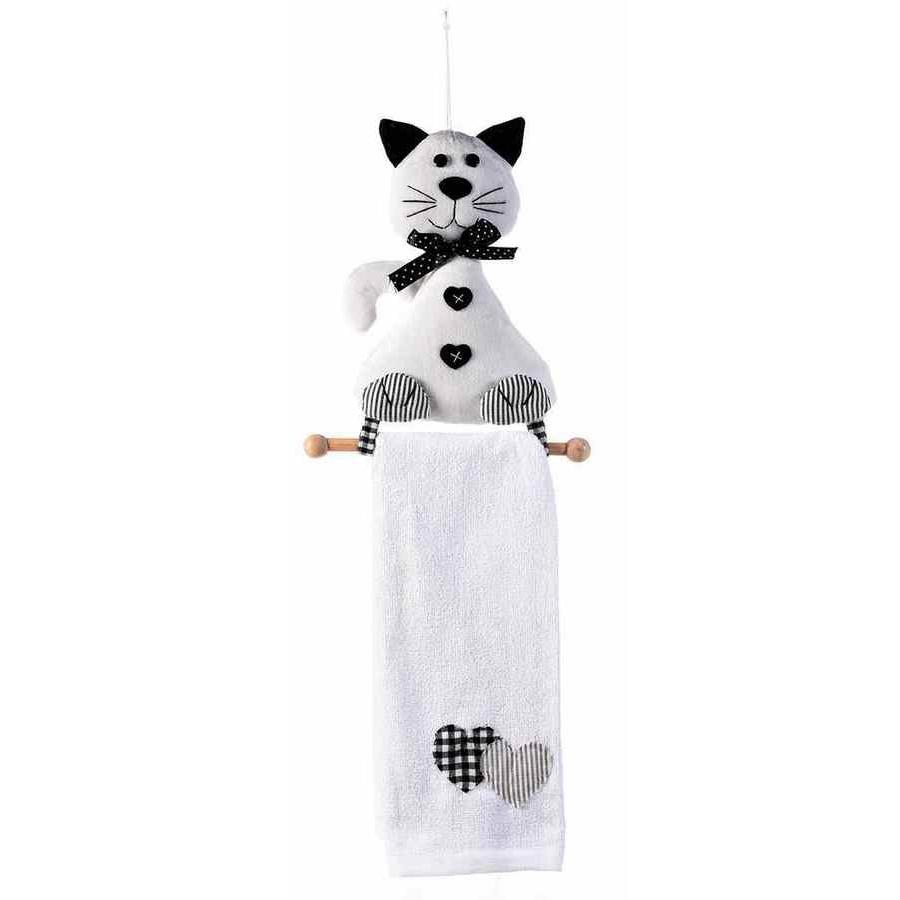 Set suport si prosop din textil alb negru model pisica 19.5 cm x 52 h