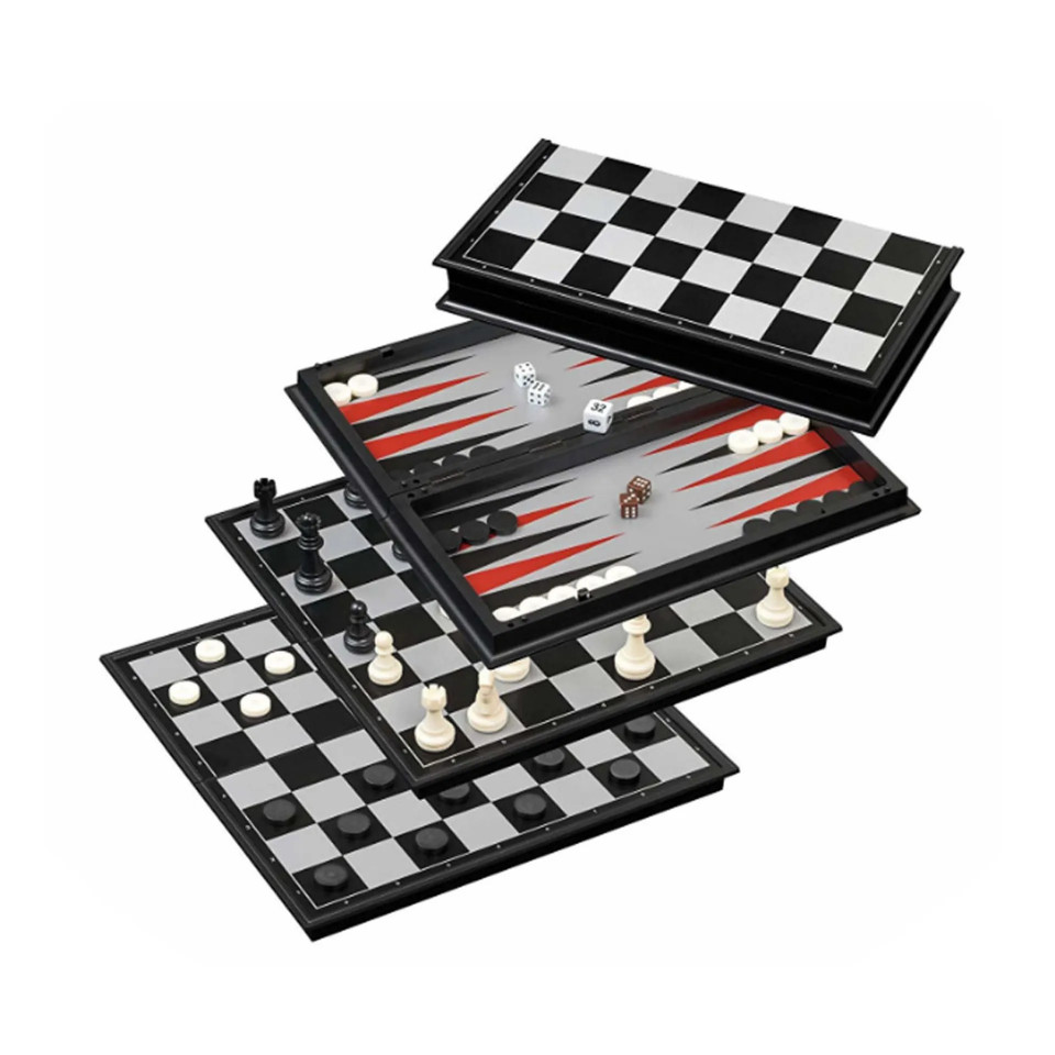 Joc de sah magnetic , 3 in 1 , joc dame , joc de table