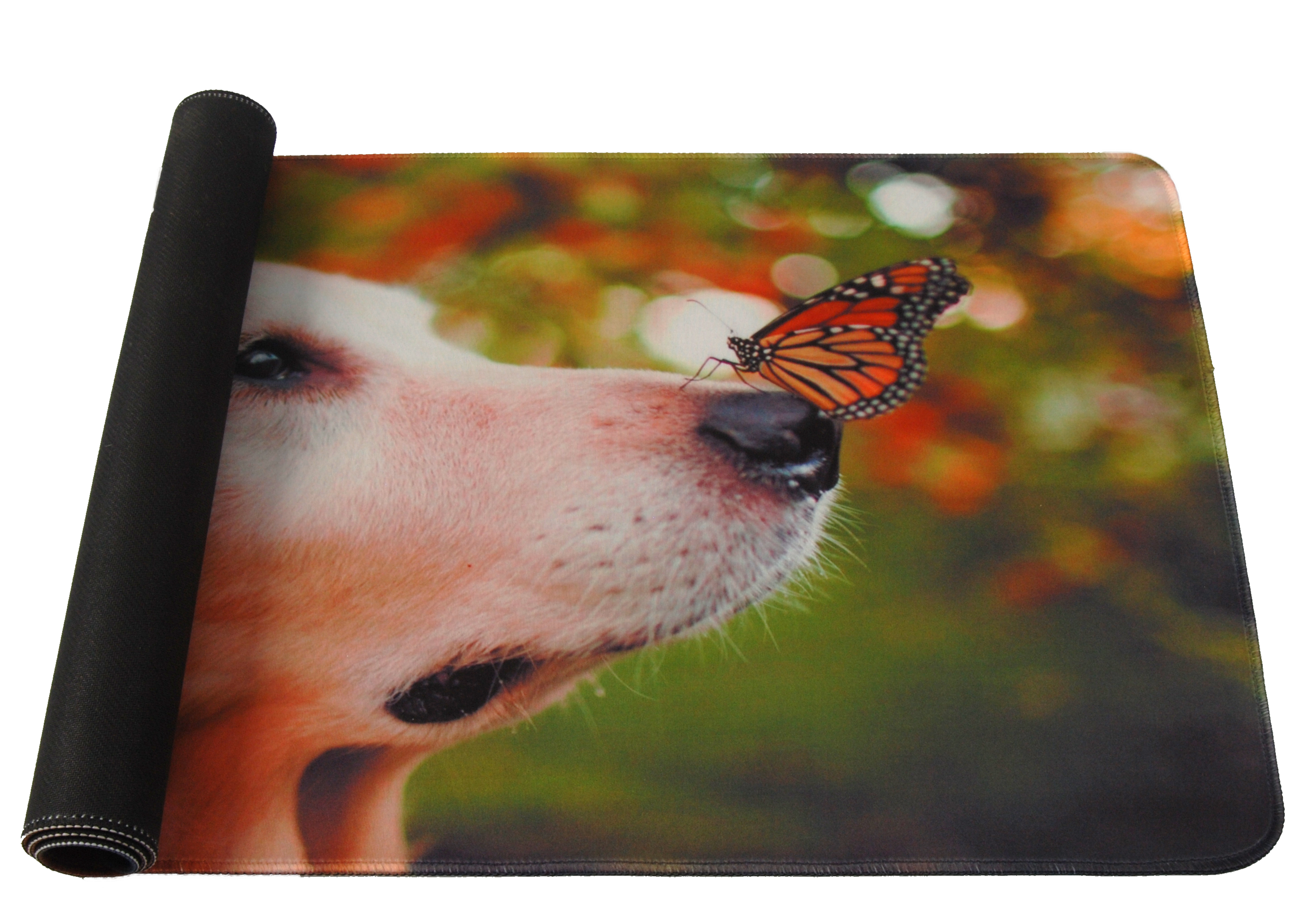 Mousepad, XXL, gaming si birou, 900 x 400 x 3mm, textil cu baza cauciucata, desen Catel si Fluture