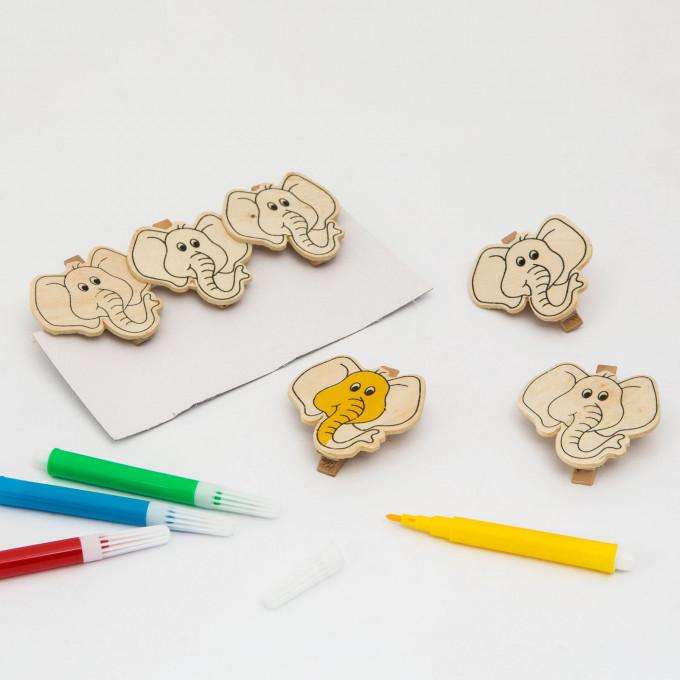 Clemă din lemn colorabilă cu carioca - elefant - 5 cm