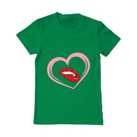 Tricou adler barbat buze si inima verde mediu