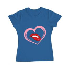 Tricou adler dama buze si inima albastru azuriu