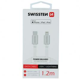 Cablu date si incarcare usb type c - lightning 1,2m alb