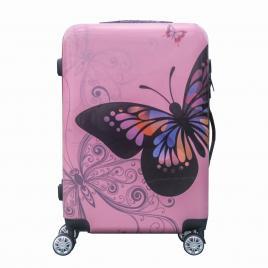 Troler pentru calatorie, din ABS si policarbonat, 65 cm, Fluturas Roz