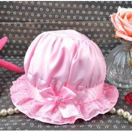 Boneta roz din saten (marimi palarii - sepci: 3-6 luni)