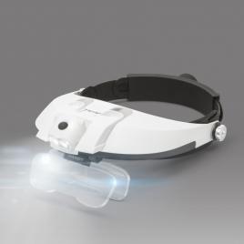 Lanternă de cap cu LED și lupă cu lentilă dublă