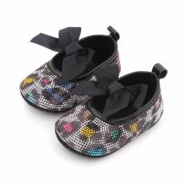 Pantofiori cu strasuri colorate - leopard (marime disponibila: 6-9 luni...