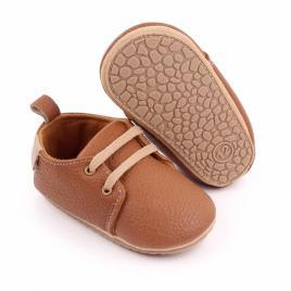 Pantofiori eleganti maro cu sireturi (marime disponibila: 6-9 luni (marimea 19...