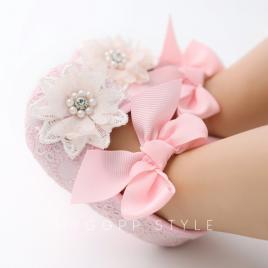 Pantofiori roz cu bentita asortata (marime disponibila: 12-18 luni (marimea 21...