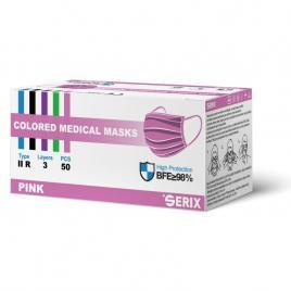 Masca Medicala Tip IIR Roz 3 Pliuri SERIX 50 Buc