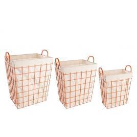 Set 3 cosuri depozitare din fier portocaliu cu husa textil crem 45 cm x 33 cm x 54/61 h