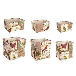 Set 6 cosuri depozitare dreptunghiulare din textil botanic 45 cm x 38 cm x 45 h