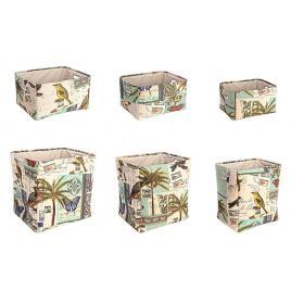 Set 6 cosuri depozitare dreptunghiulare din textil multicolor botanic 45 cm x 38 cm x 45 h