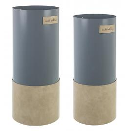 Set 2 suporturi umbrele din metal gri si piele ecologica bej urban Ø 20 cm x 48 h; Ø 22 cm x 52 h