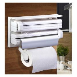 Dispenser triplu de bucatarie pentru rola de hartie folie de aluminiu si alimentara