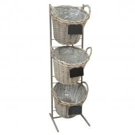 Suport din fier gri cu 3 cosuri rachita 35 cm x 33 cm x 114 h