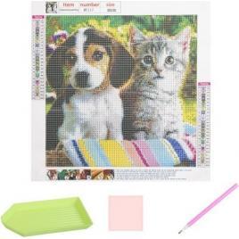 Broderie Pictura Mozaic cu Diamante 30 x 30 model Catel si Pisica