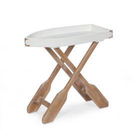 Masuta pliabila din lemn alb maro gozzo 60 cm x 30 cm x 56 h