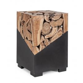 Masuta de cafea din fier negru si lemn natur grenada 40 cm x 40 cm x 60 h