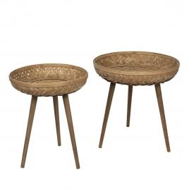 Set 2 masute din lemn si bambus maro Ø 50 cm x 60 h / Ø 42 cm x 46 h
