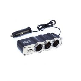 Prelungitor priza  leo 3 cai auto si 1 USB