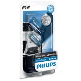 Set 2 Becuri auto Philips T10 White Vision 12V 5W
