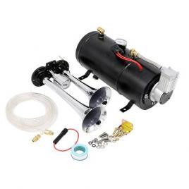 Set claxon cu 2 pipe train horn + compresor 3L 12V